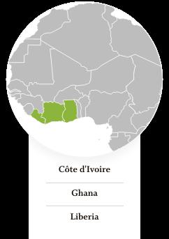 Côte d'Ivoire, Ghana, Liberia