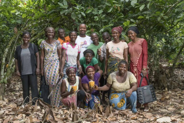 Group of cocoa farmers mostly women from Cote d'Ivoire