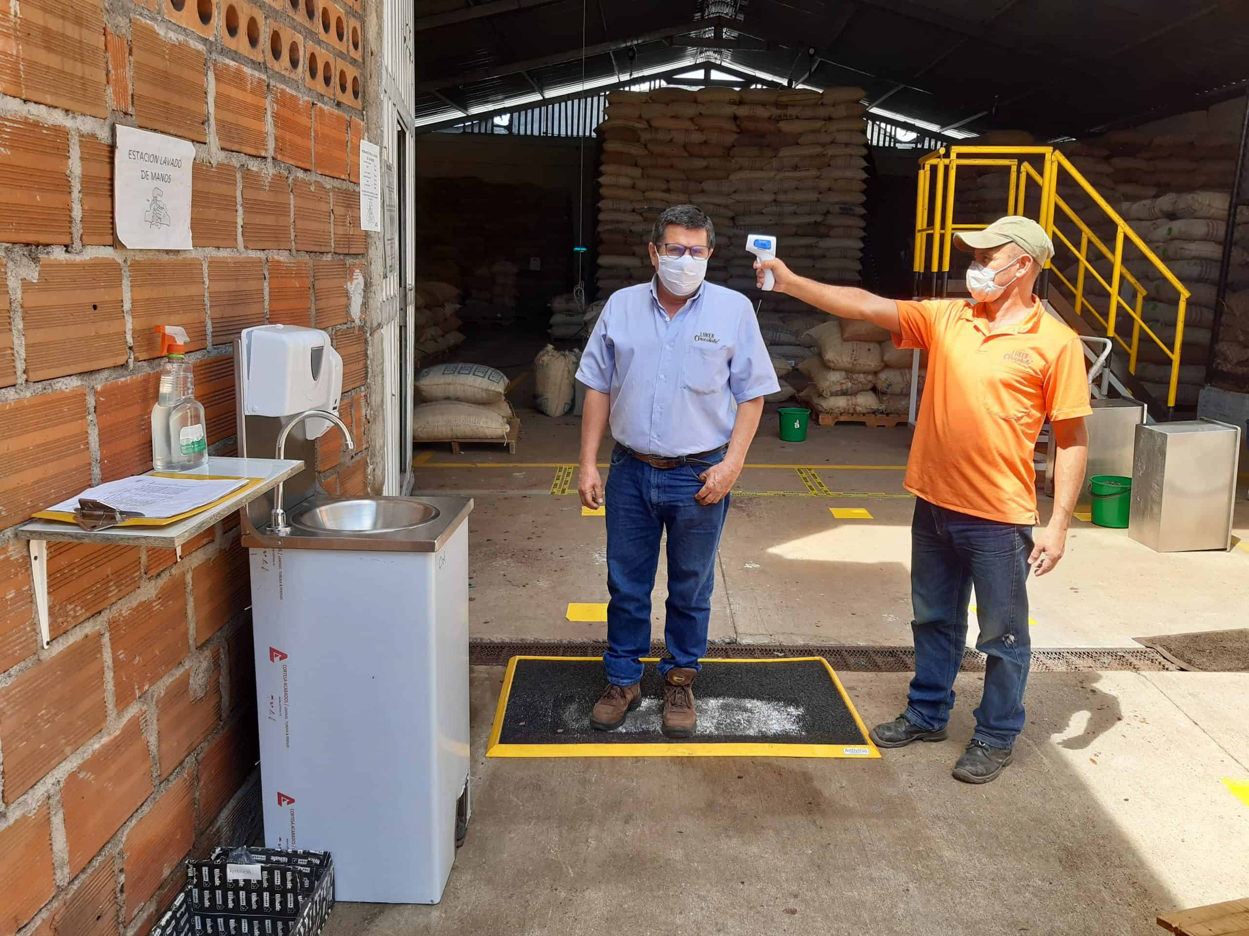 Sustainable cocoa production facility temperature testing in Colombia