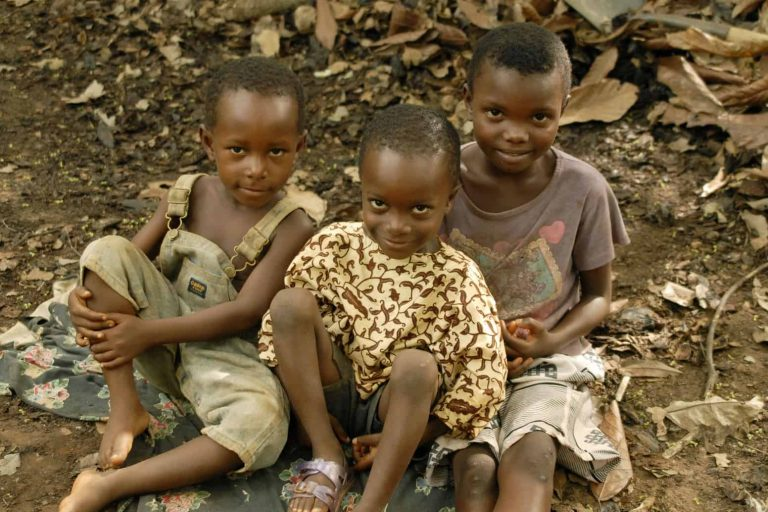 Children in a sustainable cocoa growing community in West Africa