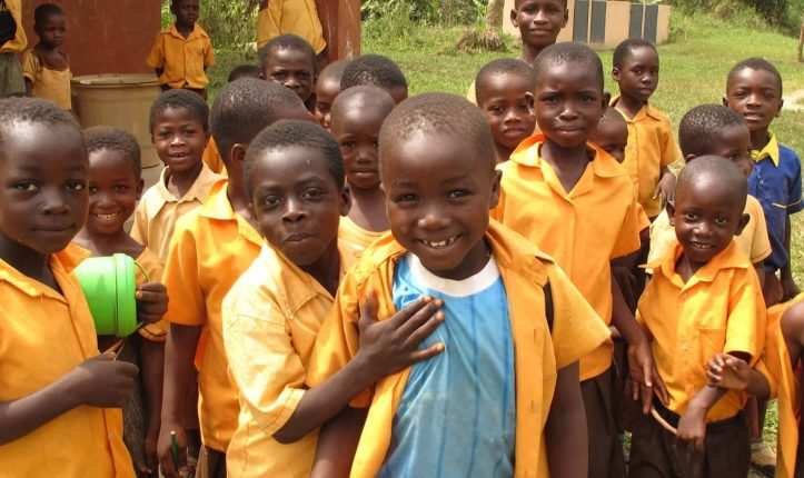 Photo of children in school in a cocoa growing community in West Africa
