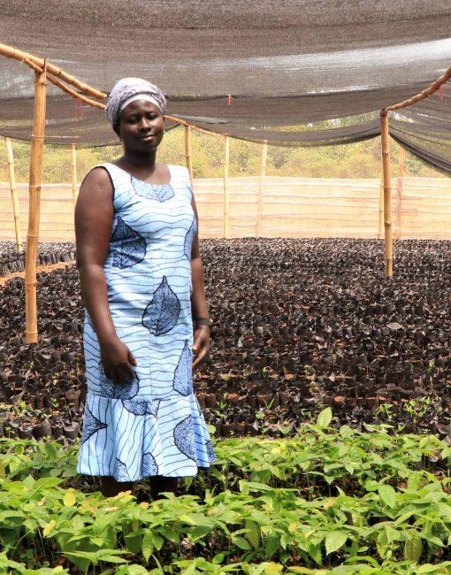 Portrait of Portia Sani sustainable woman cocoa farmer in Ghana