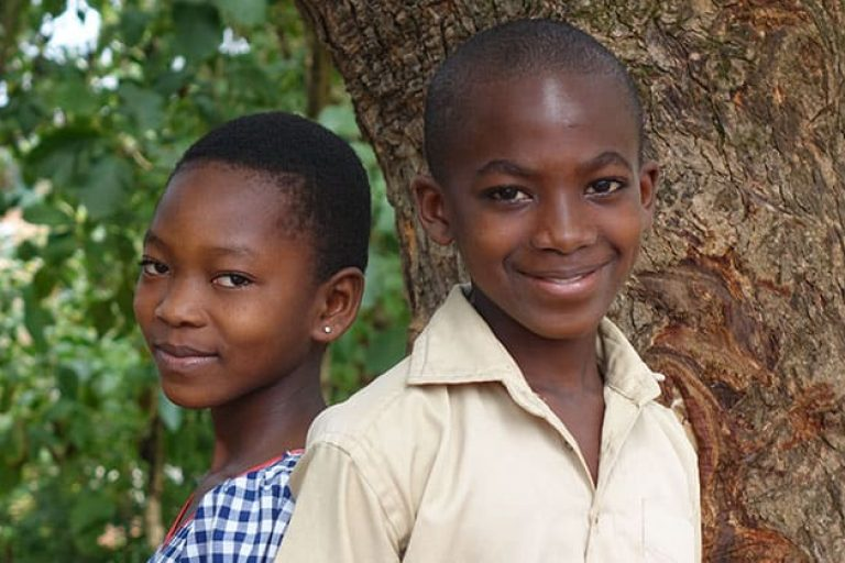 Children from a sustainable cocoa community in West Africa
