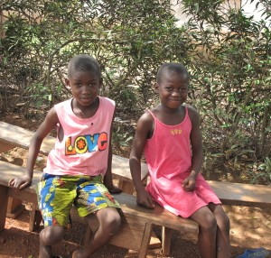 Young children happy about new school in Bieby Village, Cote d'Ivoire.