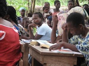Functional literacy students in Sokoura, Zoukougbeu, Haut Sassandra Region, Côte d'Ivoire