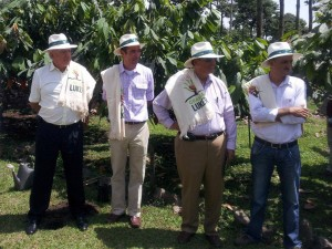 Pictured left to right: Luis Eduardo Gomez, president of Finagro; Don Alfredo Restrepo; Robert Peck; and Dr. Juan Camilo Restrepo, Minister of Agriculture, Colombia.