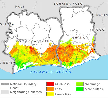 Läderach et al. (2013) Predicting the future climatic suitability for cocoa farming of the world's leading producer countries, Ghana and Côte d'Ivoire.