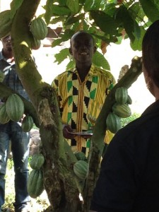 A Ghanaian cocoa farmer explains his farming business on Ghana National Farmer's Day, December 6, 2013.