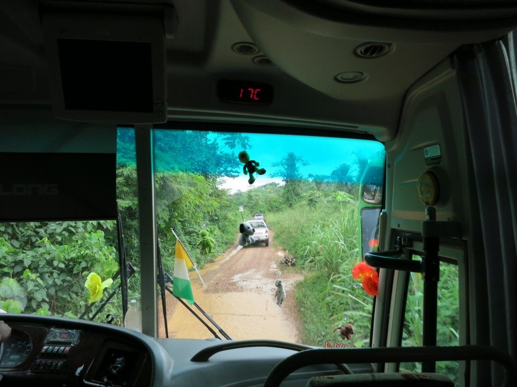 En route to a cocoa farm in Côte d'Ivoire to test data collection equipment.