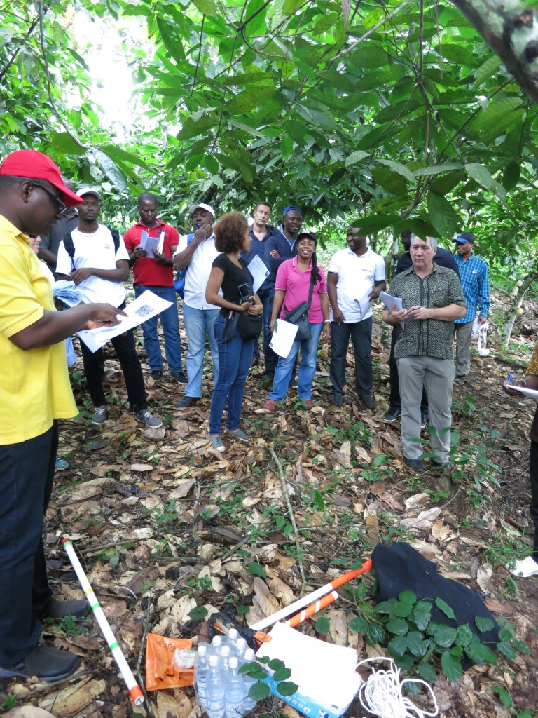 Demonstrating the use of data collection equipment in farm conditions.