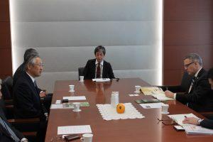 L-R: Meiji President Kazuo Kawamura, Associate General Manager Yoshinori Doi, and WCF Vice President, Member & External Relations Tim McCoy, meet at Meiji's head offices in Tokyo