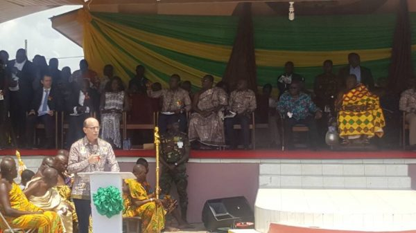 Rick Scobey, WCF President, delivers speech during the National Durbar to commemorate the 70th Anniversary of Ghana Cocoa Board