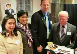 The Embassy of the Philippines in Washington, D.C., hosted WCF's 2012 Holiday Season Celebration on December 6.  Working with WCF member CocoaPhil, WCF supports a mirid control research project in the Philippines and in 2013 will host a Philippine Borlaug Cocoa Research Fellow. Enjoying chocolate made from Philippine cocoa are (L-R) Embassy Agricultural Attaché Joy Javelosa; Commercial Counselor Nini Alvero; WCF President Bill Guyton; and Ambassador José Cuisia, Jr.