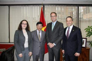 Bill Guyton, Virginia Sopyla and Tim McCoy meet on January 16 with Vietnam's Ambassador to the United States, Nguyen Quoc Cuong, to discuss the addition of Vietnam to the USDA/WCF Cocoa Borlaug Fellowship Program and upcoming WCF travel to Vietnam
