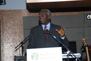 Former President of Ghana and World Food Prize laureate, John Agyekum Kufuor, being honored at the WCF Gala Benefit Reception.